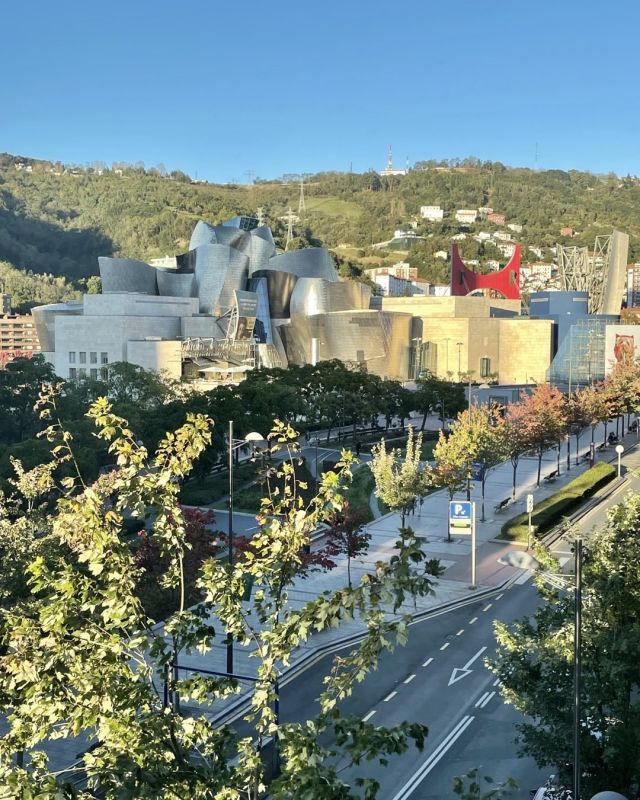 Not a bad view from our hotel window. @katehefler - I'll take your Central Park view and raise you one Guggenheim Bilbao! #bilbao #spain #guggenheim #frankgehry #architecture #art #welovetheworld