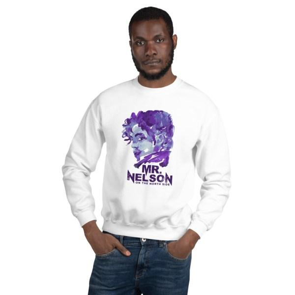 Male model wearing white sweatshirt