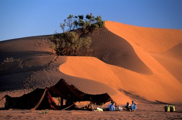 Berber Camp in Sanddunes, Sahara Desert near M'Hamid, Morocco, North Africa