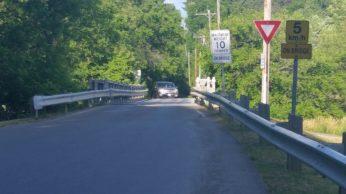 Narrow bridge leading to the campground