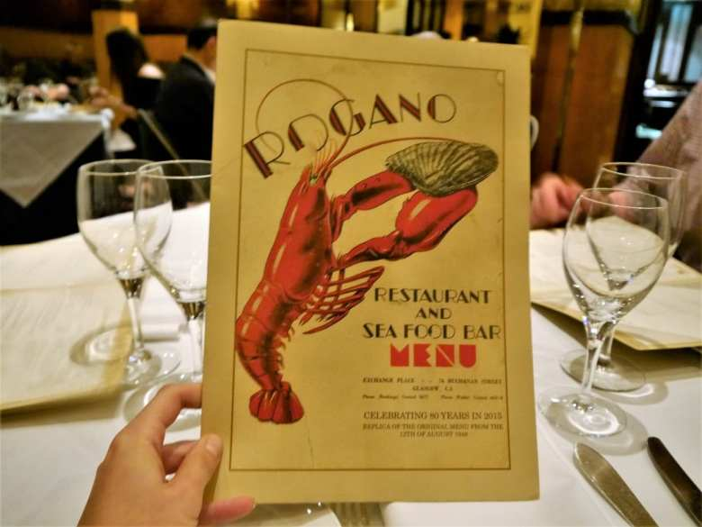Rogano food menu