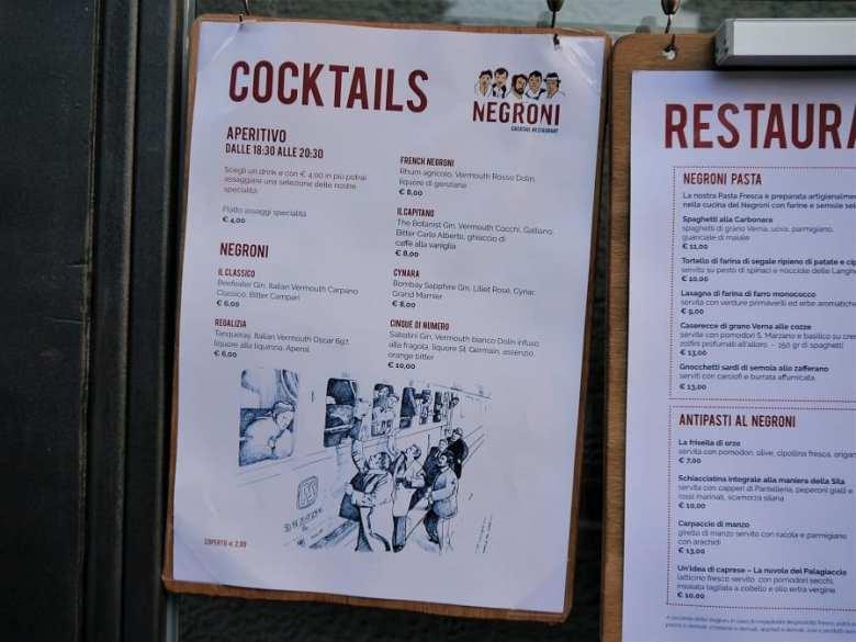 Negroni menu
