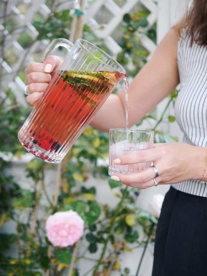 rose sangria in a jug