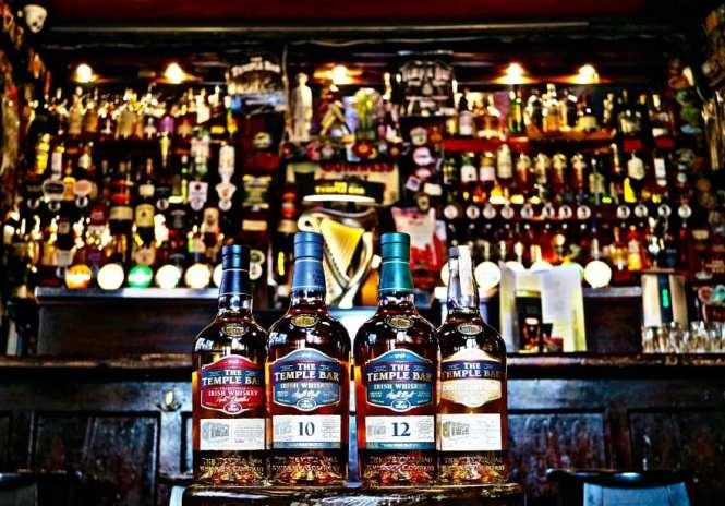Irish whiskey bottles in a whisky bar