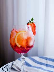 Strawberry infused Campari Spritz