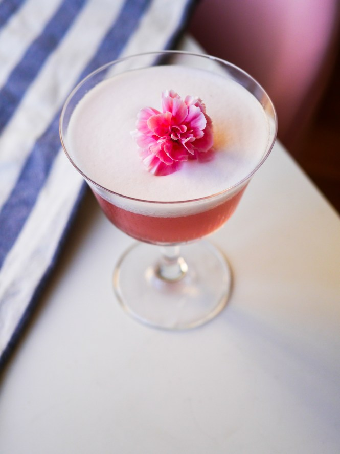 pink cocktail with foam