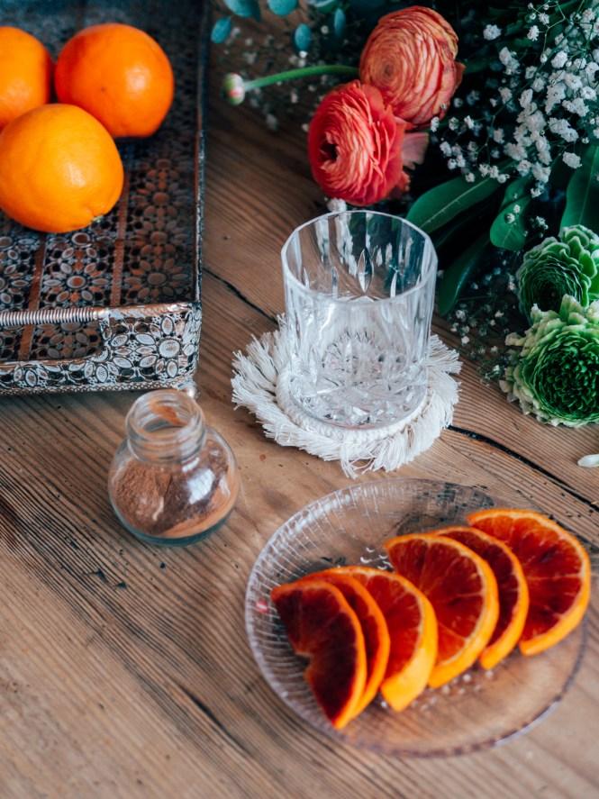 Mezcal with orange and cinnamon