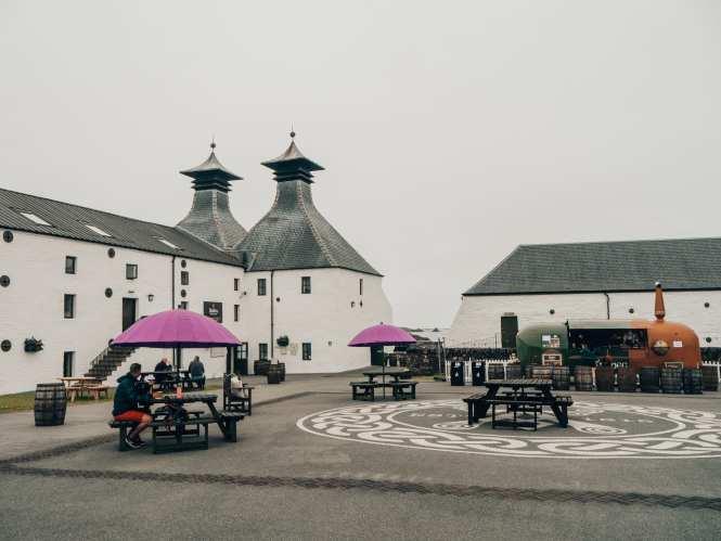 Ardbeg distillery courtyard on islay