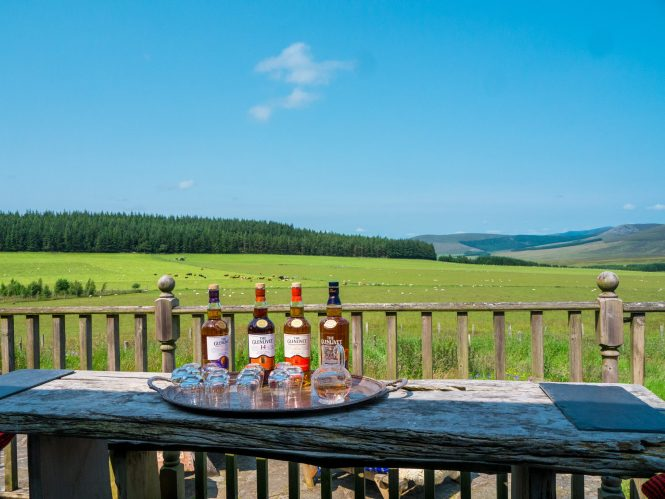 The Glenlivet whisky bottles with a view