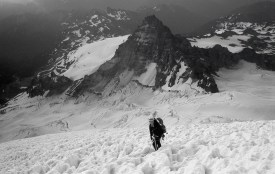 Grant making progress up Mt Rainier via Disappointment Cleaver