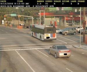 Metro Bus runs a red light