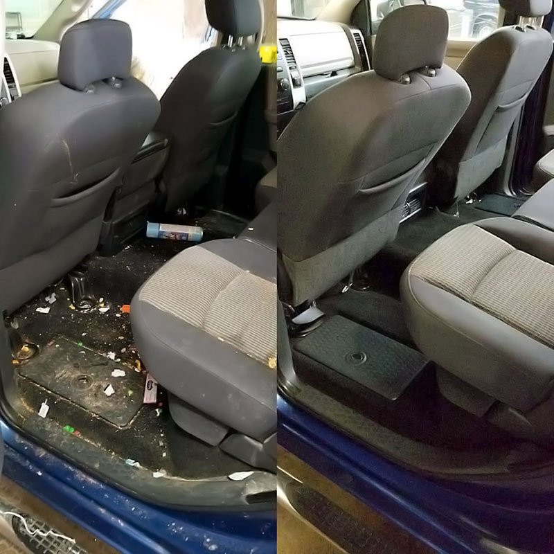 Auto upholstery cleaning before and after Woodbury, MN.