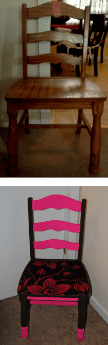 The Pillow Case Makeover: Upcycled, Pink and Brown Hand Painted Decoupage Chair  (3/5)