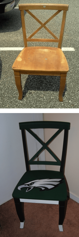 It's Sunday,  Have a Seat: Upcycled, Hand Painted Decoupage Football Lover's Chair (2/5)