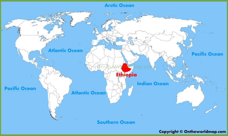 Ethiopia location on the World Map