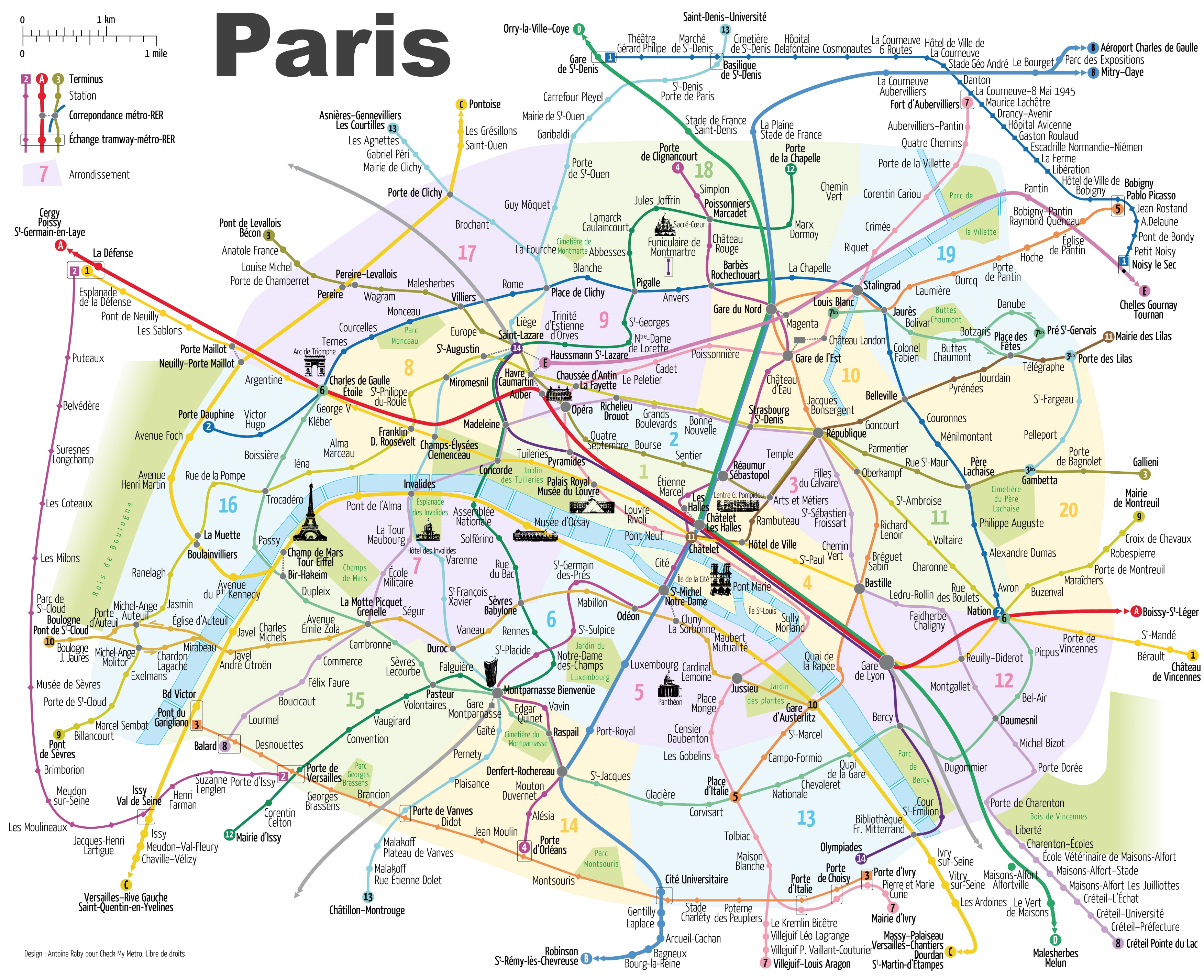 Paris Metro Map With Main Tourist Attractions