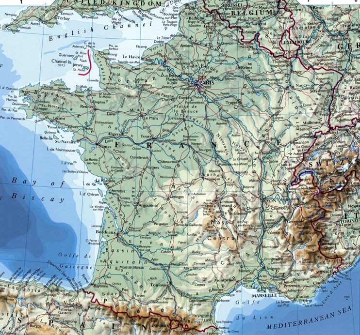 France Maps   Maps of France Large detailed map of France with cities