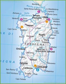 Large map of Sardinia