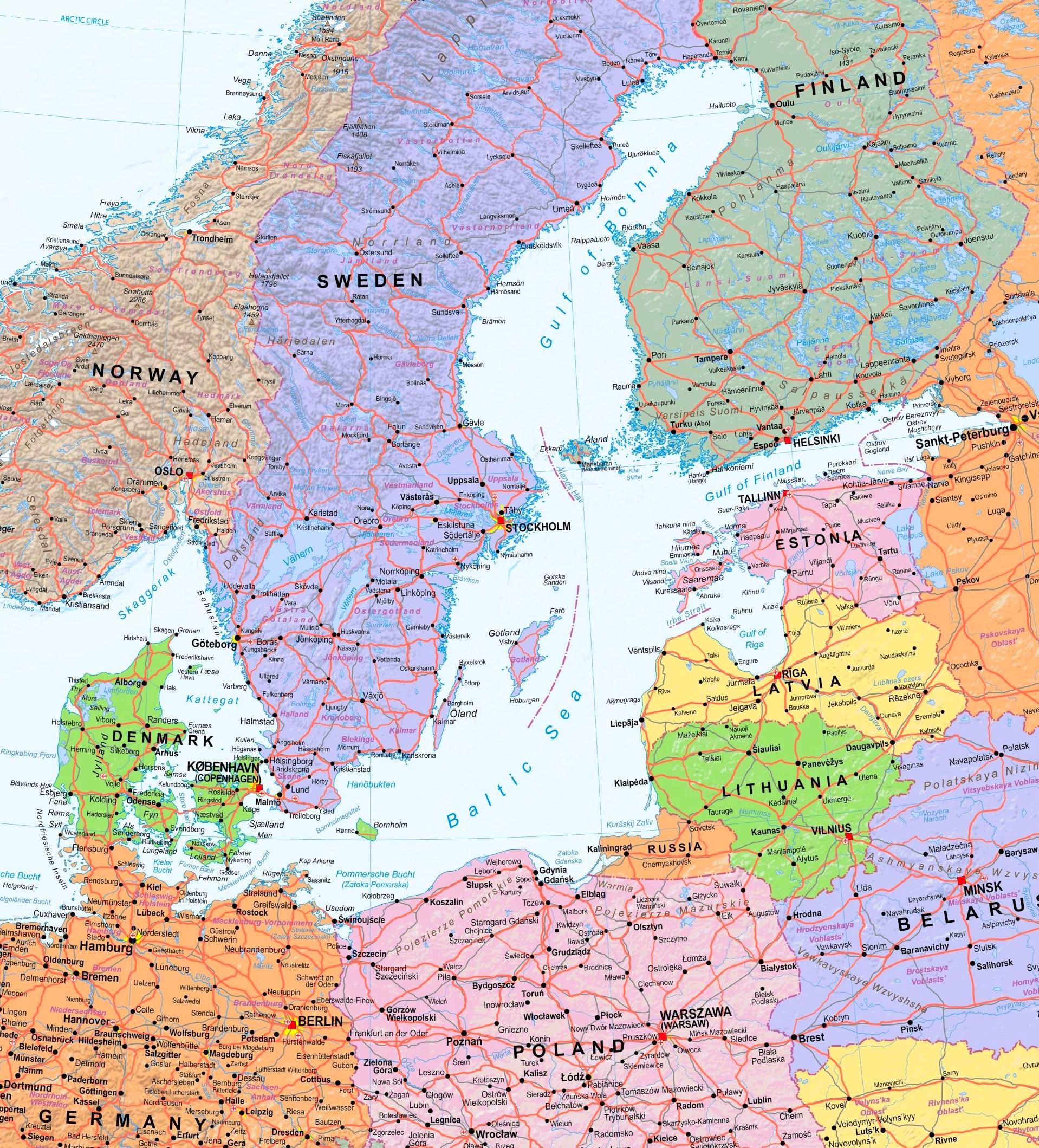 Islands Sea Map Baltic