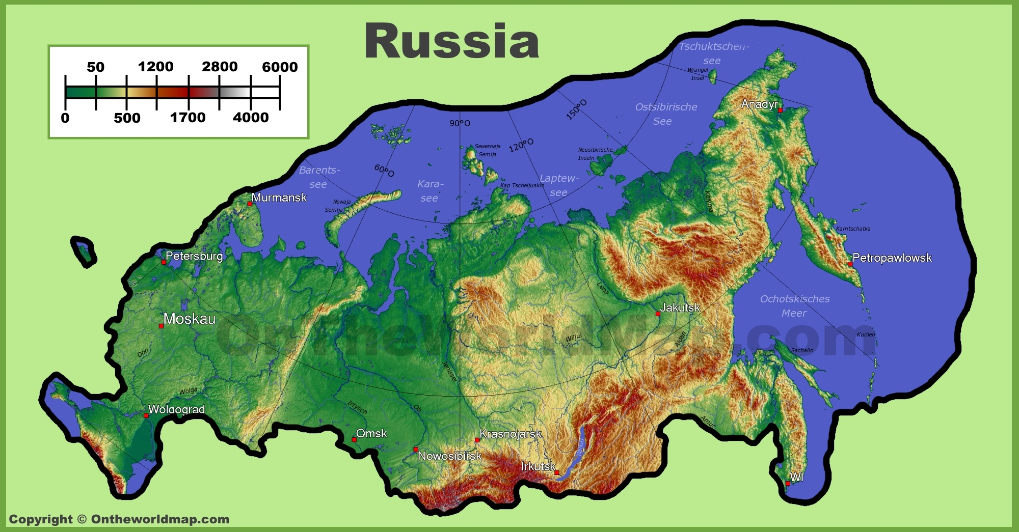 Russia Physical Map