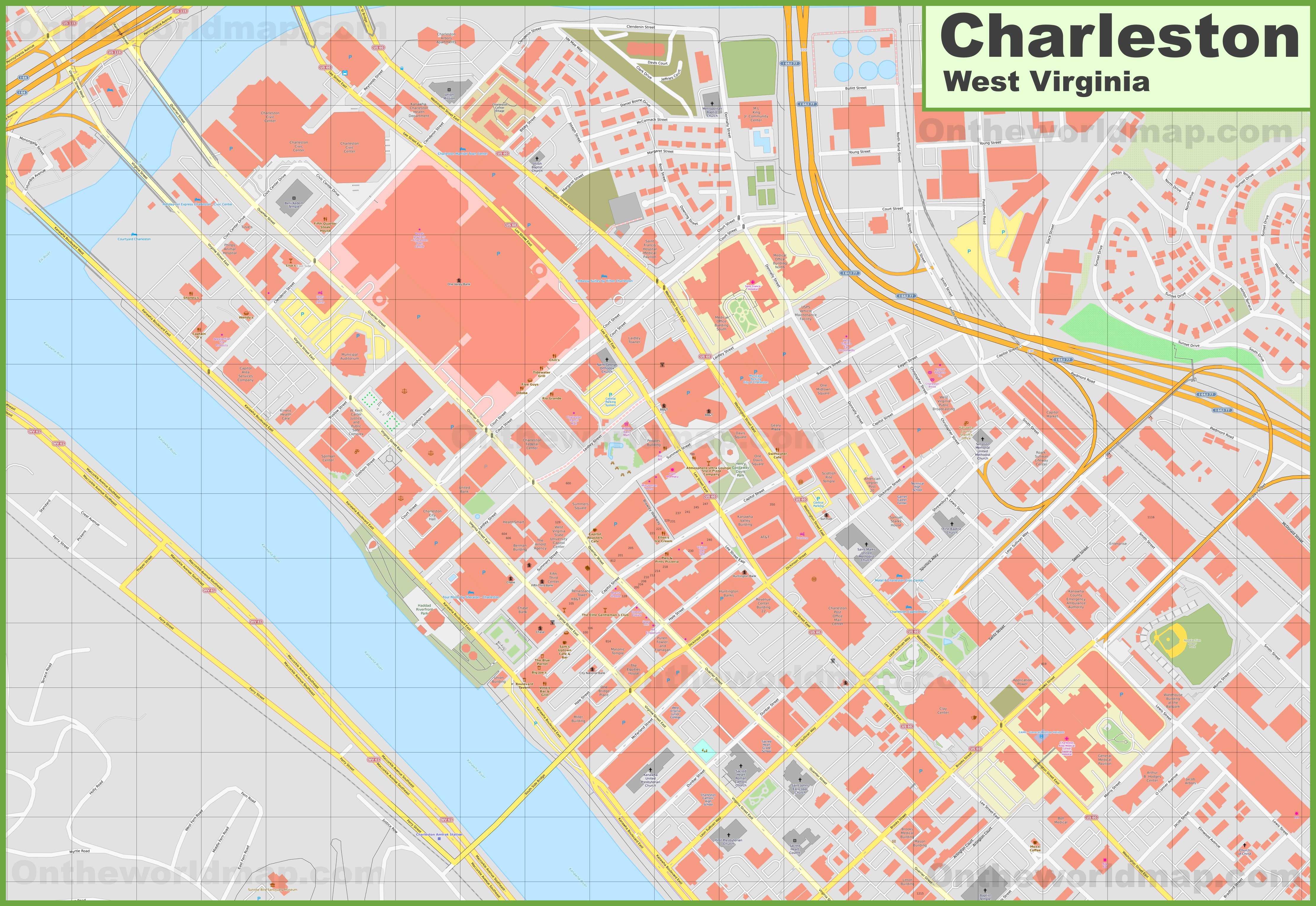 West Virginia Map Downtown Charleston