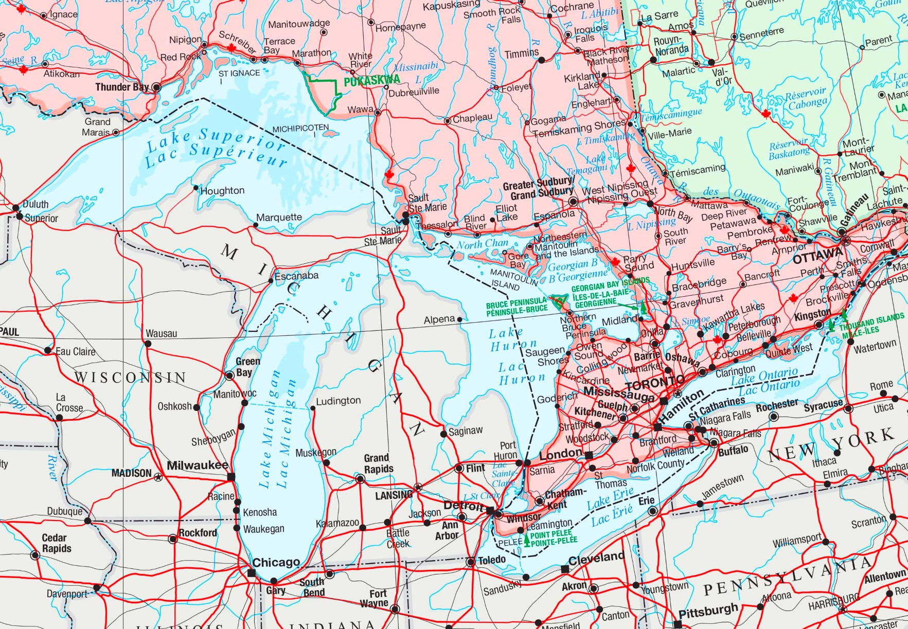 Large Detailed Map Of Great Lakes