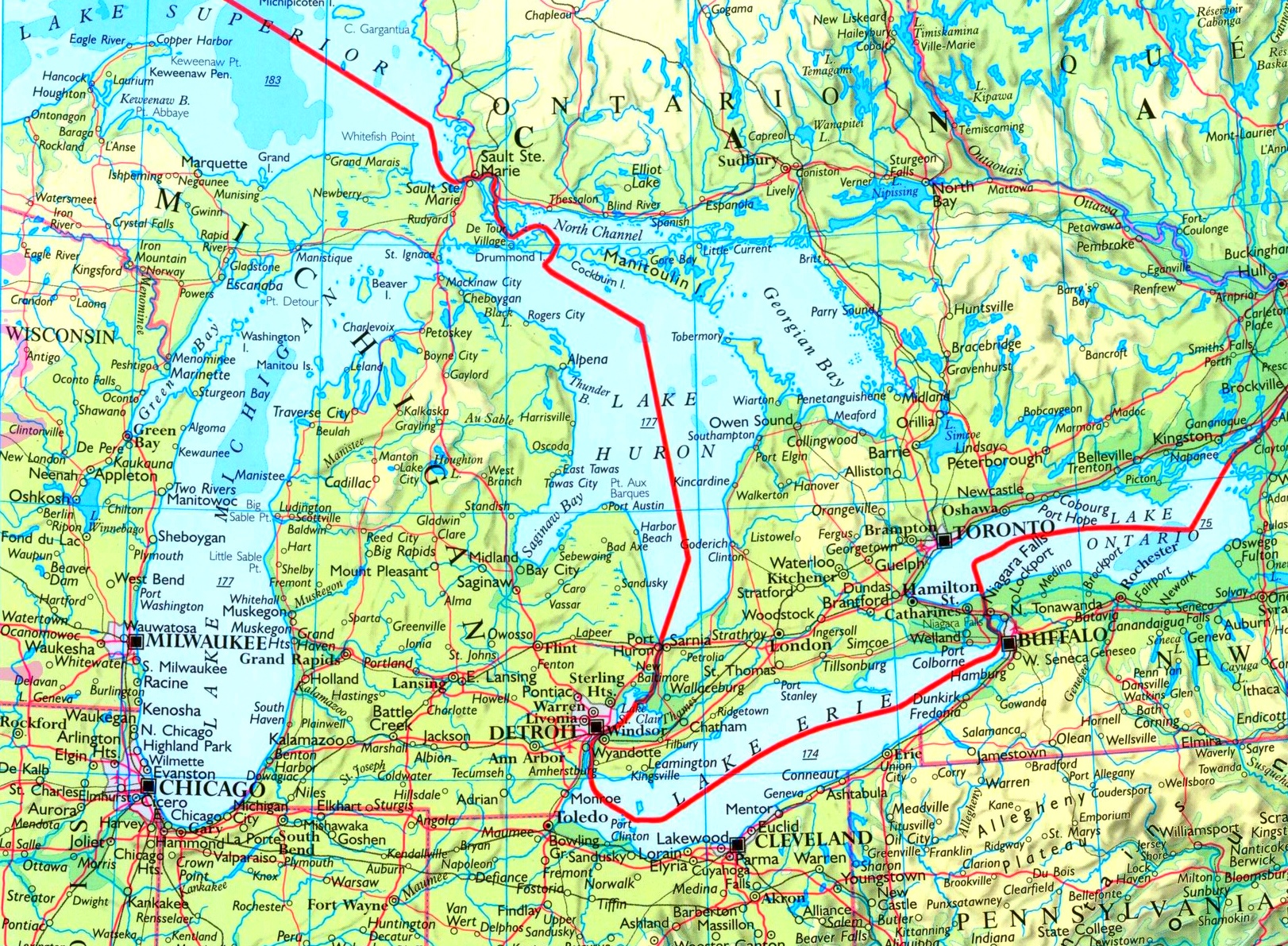 Map Of Great Lakes With Cities And Towns