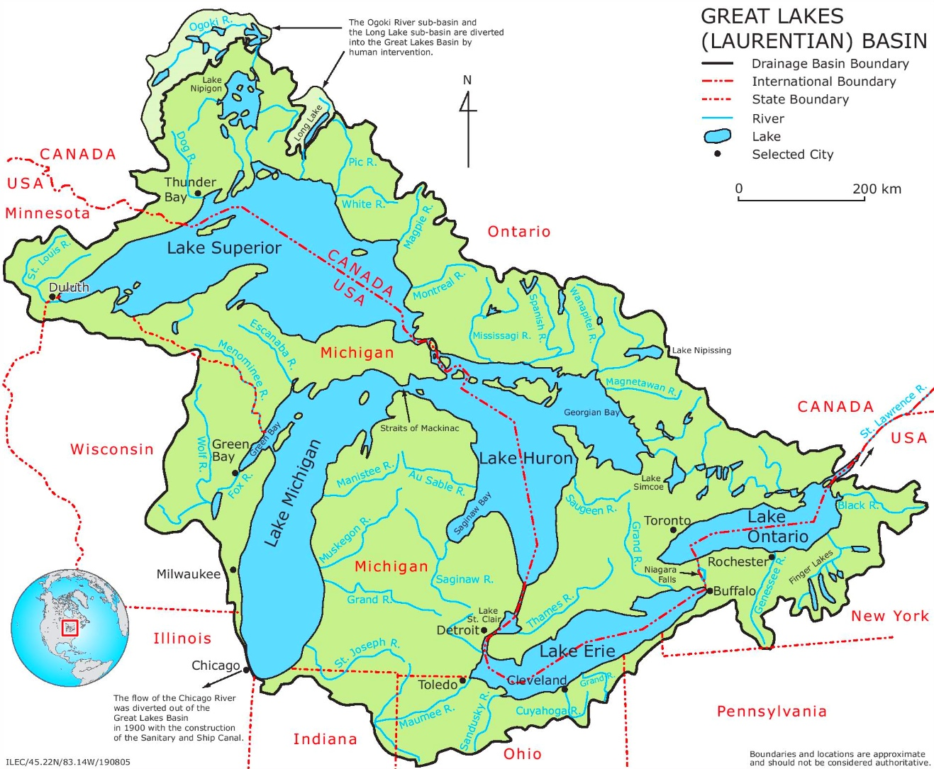 Map Of Great Lakes With Rivers