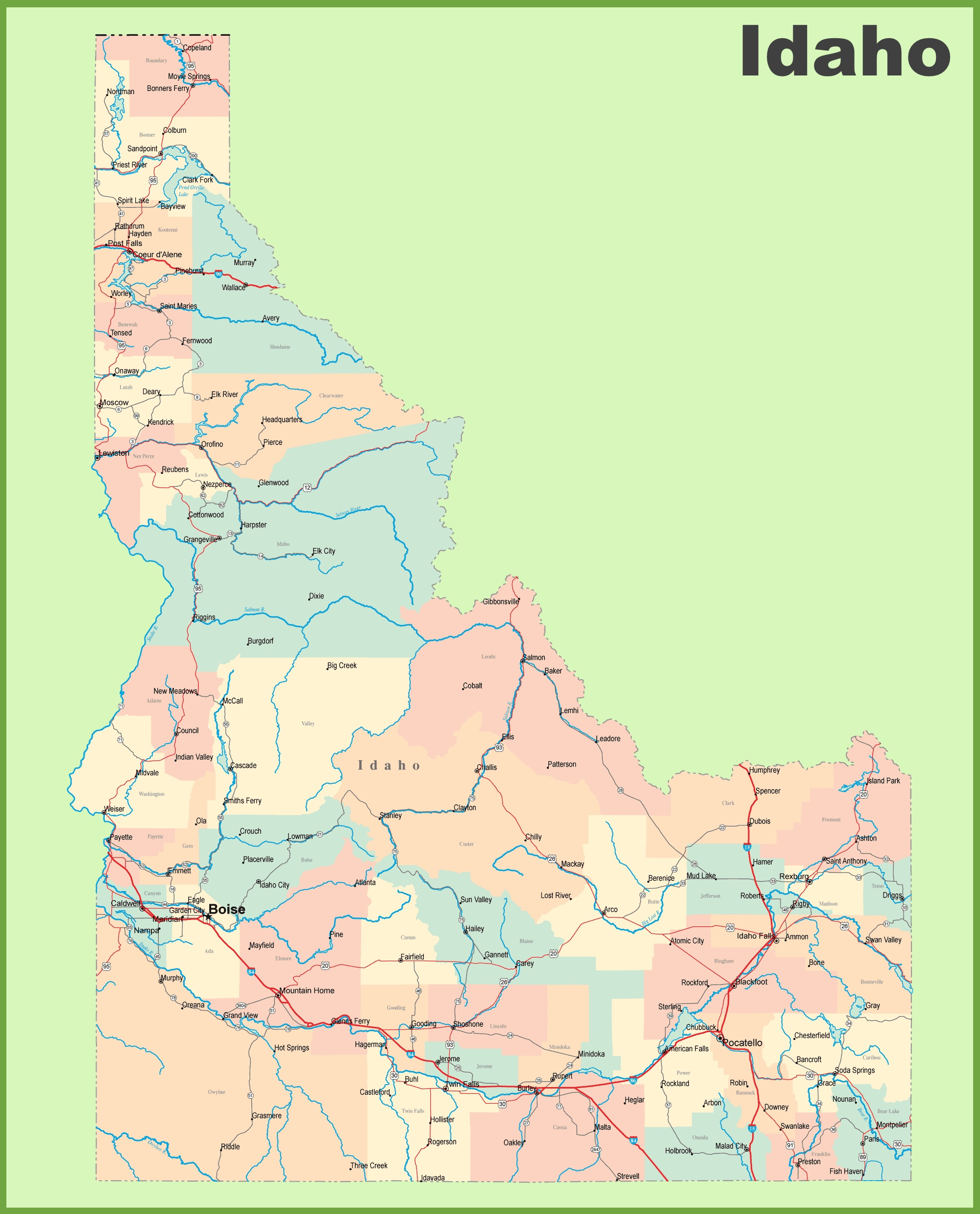 Road Map Of Idaho With Cities And Towns