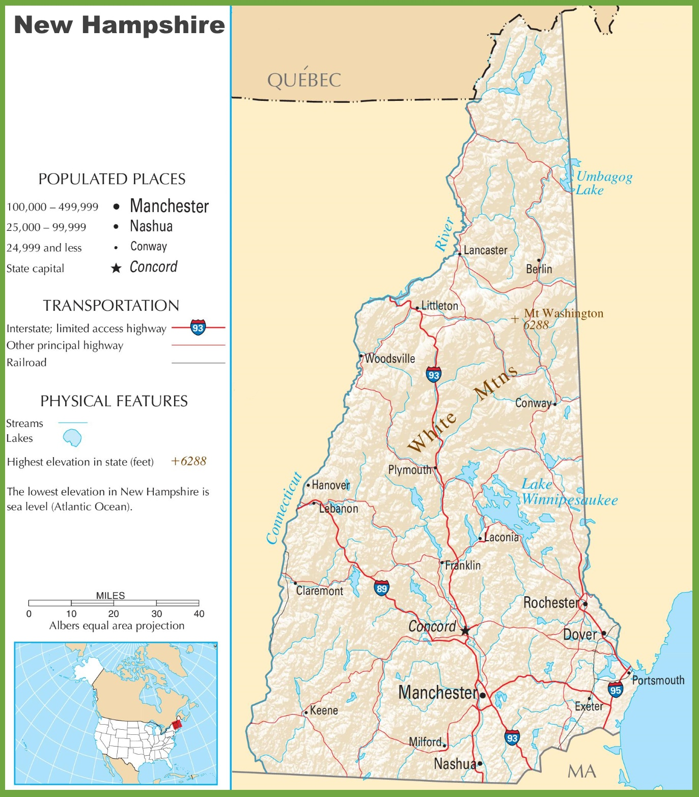 New Hampshire Highway Map