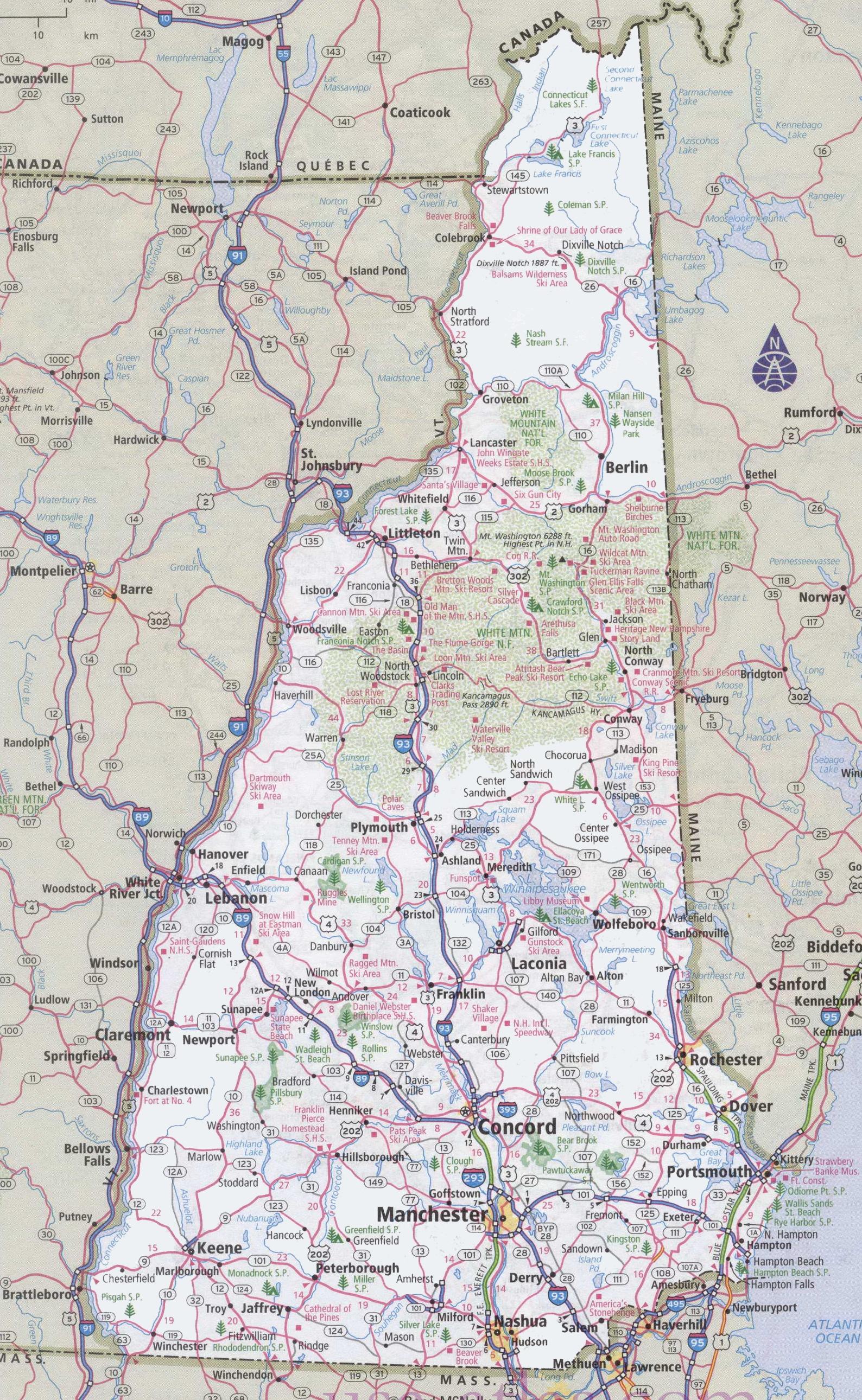 New Hampshire Road Map