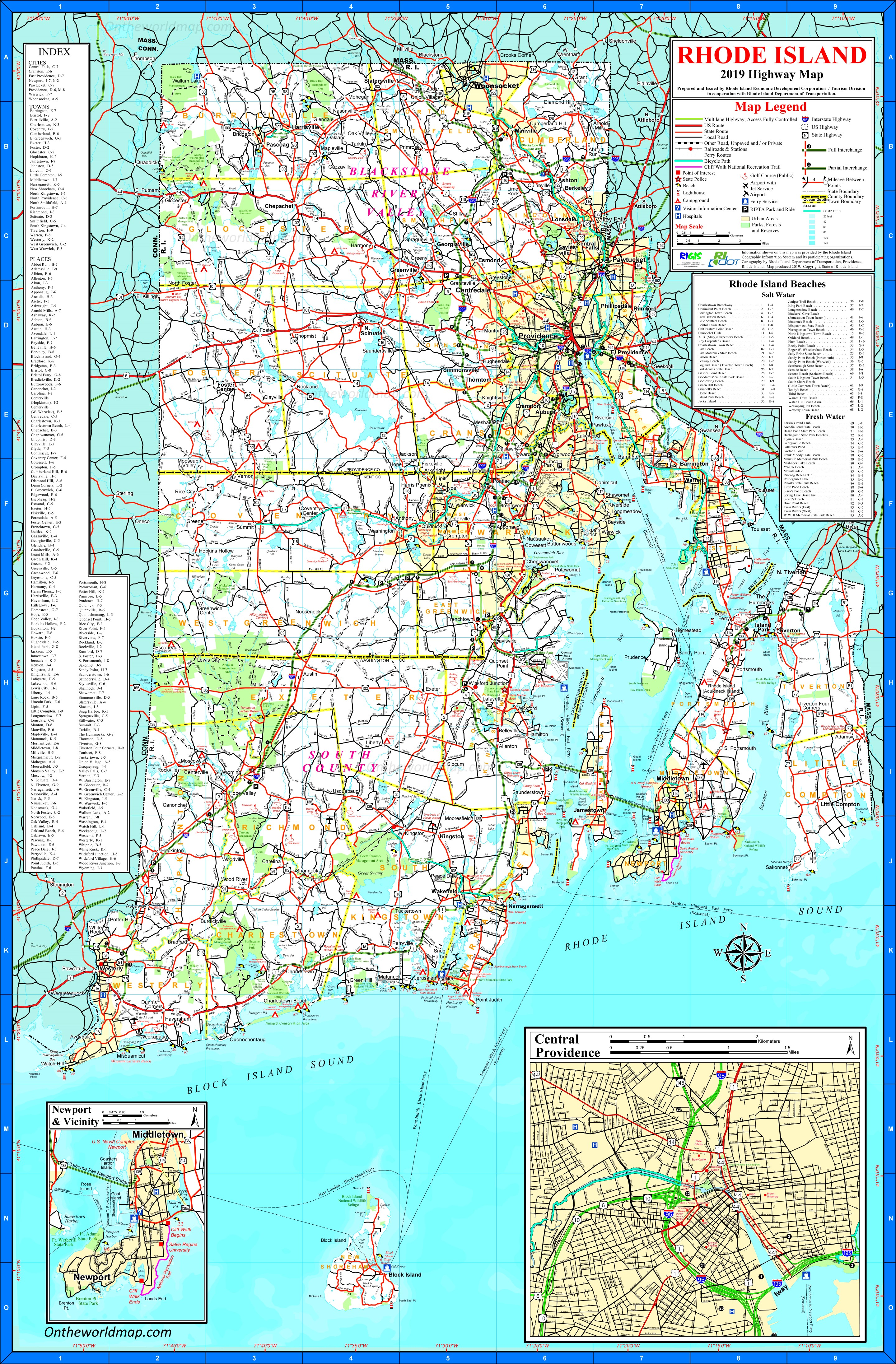 Large Detailed Tourist Map Of Rhode Island With Cities And