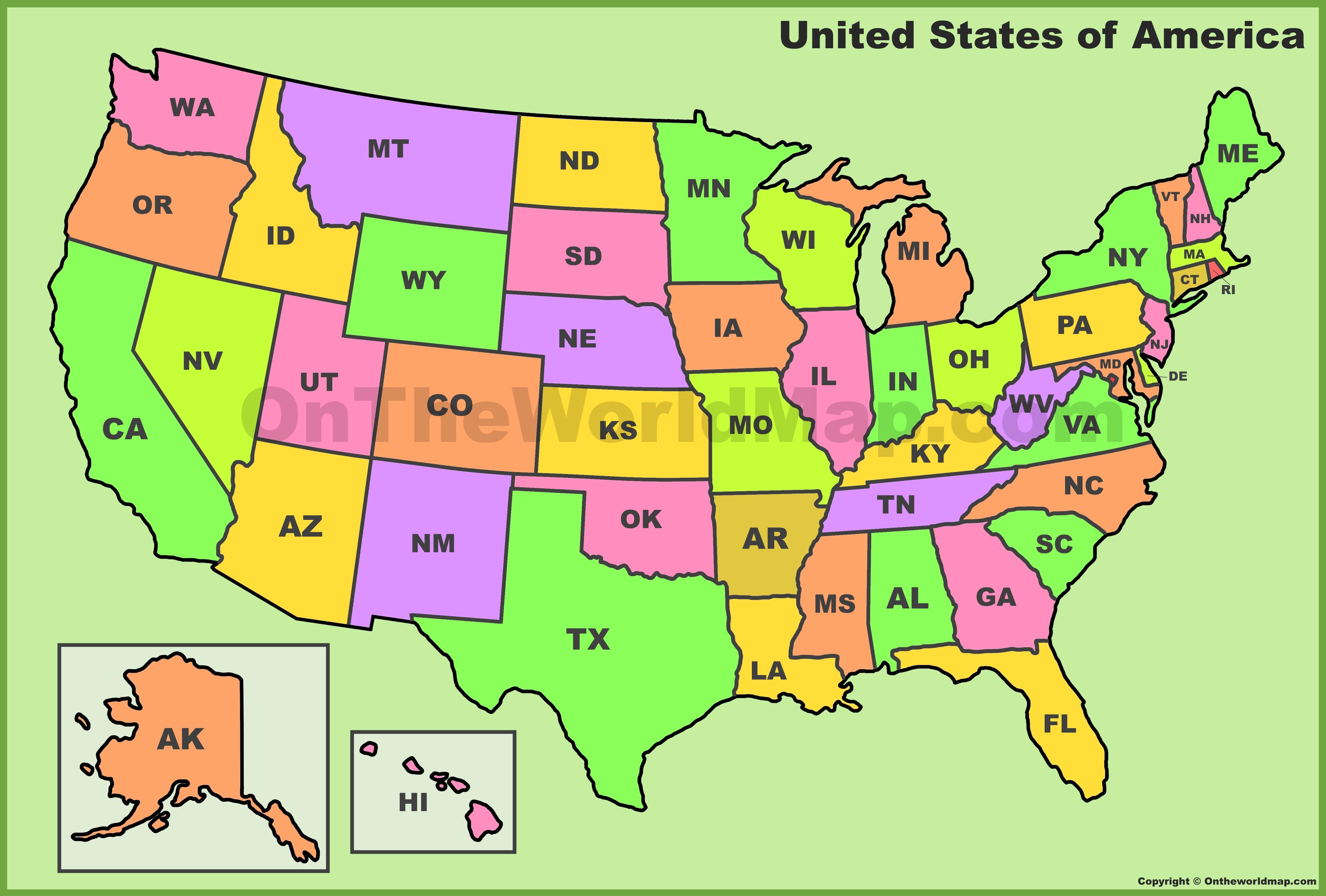 U S State Abbreviations Map