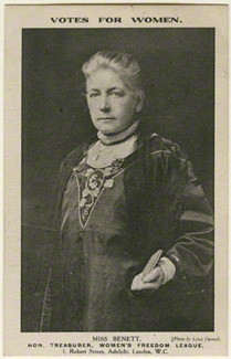 Lena Connell (later Beatrice Cundy) (1875-1949); Sarah Benett, card published by Women's Freedom League