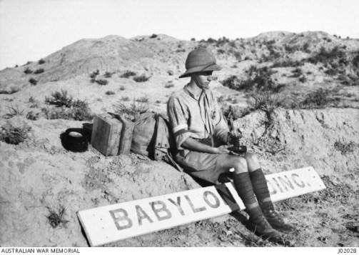 Eric Keast Burke (c.1917) self portrait on road to Babylon, Iraq.
