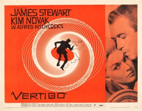 Vertigo Original US Half Sheet Vintage Movie Poster James Stewart Alfred Hitchcock