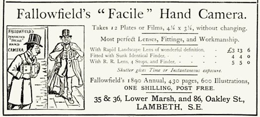Advertisement for the Facile Hand Detective Camera 1890.