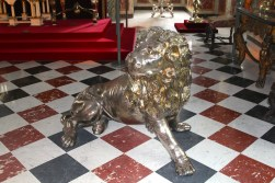 Silver lion guarding the thrones at Rosenborg Castle