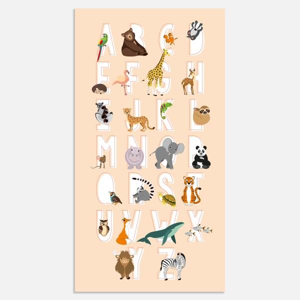 alfabet poster dieren abc roze