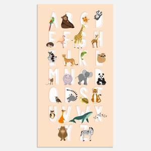 Deze abc alfabet poster leert je kleintje het ABC met vrolijk illustratie dieren. In roze.