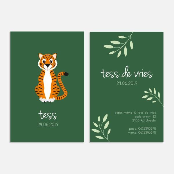 Dit geboortekaartje tijger heeft een formaat van 10x15. In thema jungle dieren.