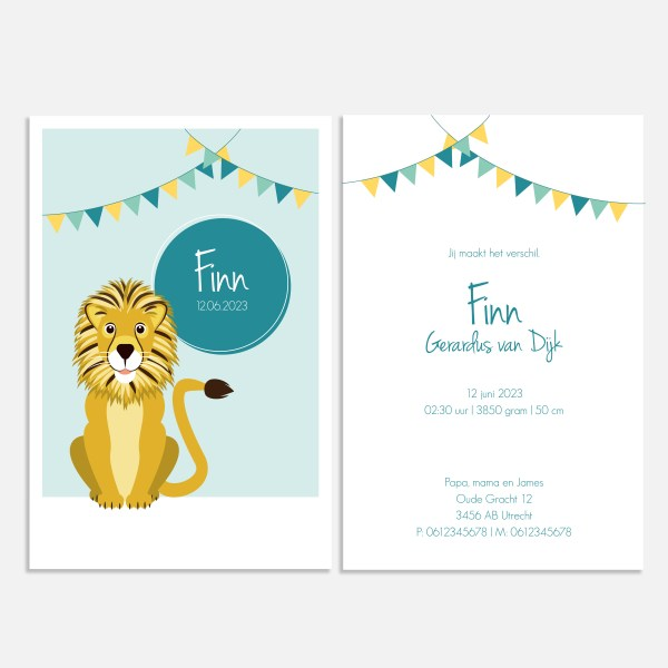 Geboortekaartje voor een jongen met leeuw in blauw.