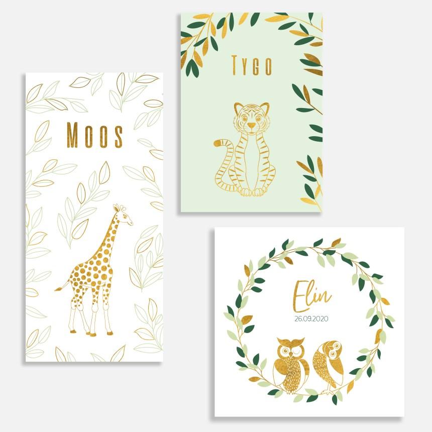 Dit geboortekaartje met foliedruk heeft een klassieke uitstraling. Met dieren in goud.
