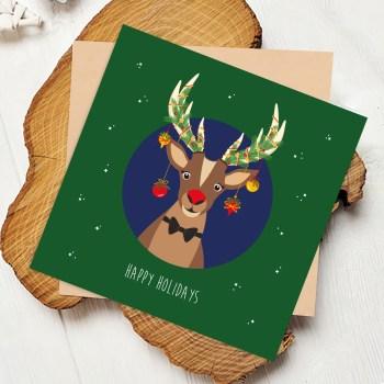 rudolf rendier kerst vierkant ontwerp door lindy
