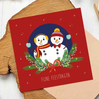 sneeuwpoppen kerst vierkant ontwerp door lindty