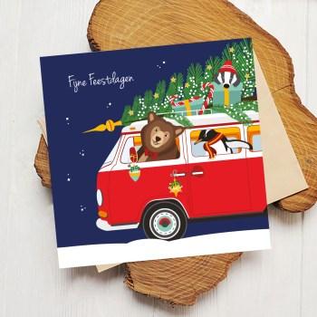 volkswagenbusje kerst vierkant ontwerp door lindty