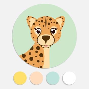 Een sticker voor een geboortekaartje maakt het totaalplaatje compleet. Deze sluitzegel past bij het geboortekaartje panter.