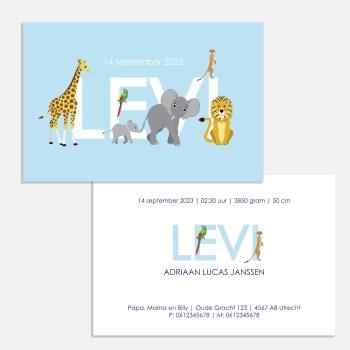 geboortekaartje jungle dieren blauw jongen 10x15 cm