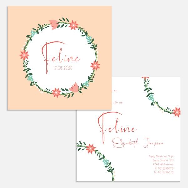 Geboortekaartje met bloemen in roze. Vierkant formaat 11x11 of 13x13cm.