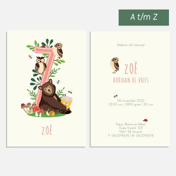 geboortekaartje bosdieren roze 10x15 beer konijn uil alfabet a tot z